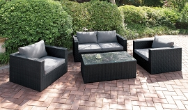 4 Pcs  Outdoor Sofa Set with Center Table- Black or Brown