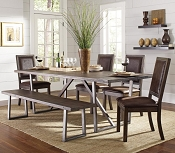 6 Pcs Genoa Rustic Table with Chairs and Bench