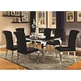 7 Pcs Carone Contemporary Glam Dining Room Set with Upholstered Chairs