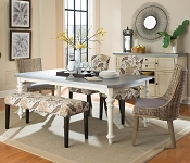 Matisse 6 Pcs Dining Set with Upholstered Bench and Woven Chairs