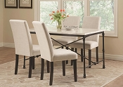 5 Piece Industrial Table Set with Fabric Side Chairs