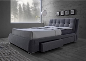 Upholstered Bed with Drawers-