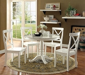 5 Pcs White Faux Marble  Wooden Dining