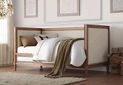 Twin Oak Daybed with Cream Linen