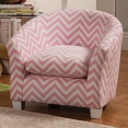 Pink and White Zig Zag Accent Chair