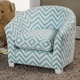 Blue and White Zig Zag Accent Chair