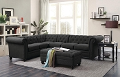 Roy Button-Tufted Sectional Sofa with Armless Chair- color option