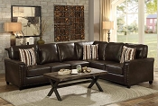 Dark Brown Leatherette Sectional with Sleeper