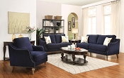2 Pcs Rich Ink Blue Pattern Chenille Sofa Set