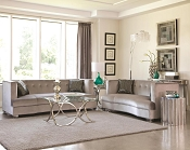 2 Pcs Silver Velvet Sofa Set