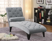 Grey Velour Microfiber Chaise