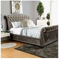 Sleigh Bed with Button Tufting -color option