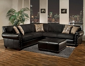 Black Modern Sectional with Nail Heads