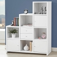 White Bookcase with Cube Storage Compartments