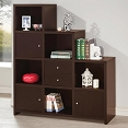 Espresso Bookcase with Cube Storage Compartments