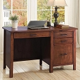Cherry Writing Desk with File Drawer and Outlet