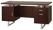 Double Pedestal Office Desk with Metal Sled Legs