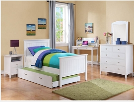 White Finish Youth Bed Frame