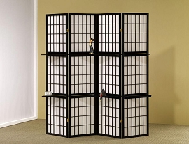 Black Folding Screen with Wood Shelves