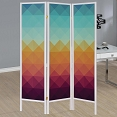 Contemporary Three Panel Folding Screen with Geometric Print