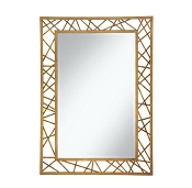 Rectangular Mirror with Geometric Gold Frame