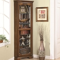 Golden Brown Corner Curio Cabinet