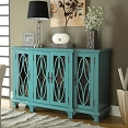 Large Teal Cabinet with 4 Glass Doors