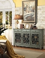 Traditional Accent Cabinet in Antique Green Finish