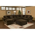 3 pc Sectional sofa with chocolate plush velour microfiber