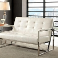 White Crocodile Faux Leather Loveseat
