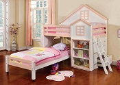 House Design White and Pink Loft Bed
