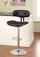 Swivel Black Barstool with Wooden Trim