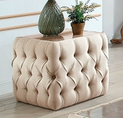 Button Tufted Beige Fabric Ottoman