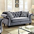 Grey Button Tufted Love Seat