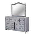Grey Velvet Dresser and mirror
