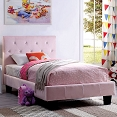 Velen Pink Bed Frame with Tufted Diamond Buttons