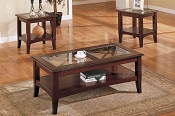 3 Pcs Wooden and Glass Coffee Table Set