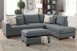 3 Pcs Dorris Fabric  Sectional Sofa Set with Ottoman- Color option
