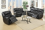 2 Pcs Black Leather Recliner Sofa Set