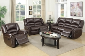 2 Pcs Brown Leather Recliner Sofa Set