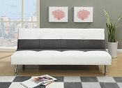 Ash and White Faux Leather Sofa Bed