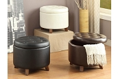 Faux Leather Cocktail Ottoman-color option