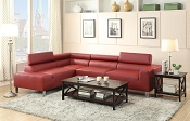 Modern Red Leatherette Sectional