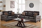 2 Pcs Espresso Sofa Set