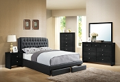 Tufted Bed Frame with Drawer