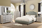 Tufted Back Faux Leather Bed Frame