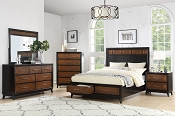 Dark Espresso Bed Frame with 2 Drawers