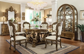 7 Pcs Antique Style Circle Dining Table Set
