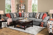 Gray Linen Contemporary Sectional