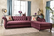 Velvet Fabric Plum Sectional